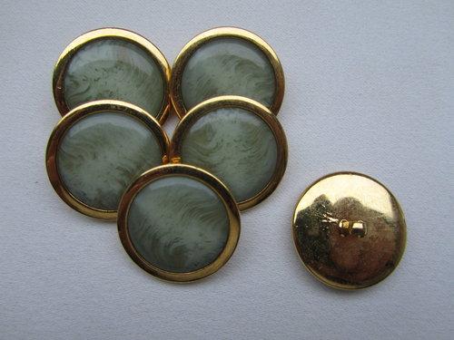 2 Knöpfe 26 mm schwarz mit Goldrand