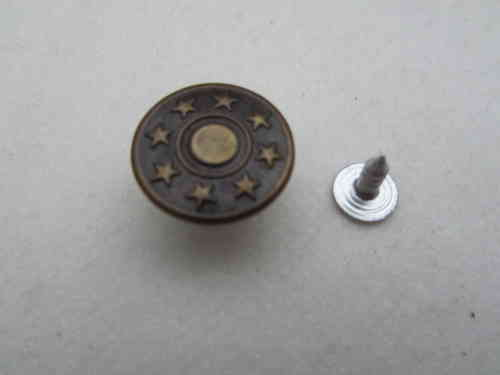 J1006 10xMetallknopf messing 14 mm