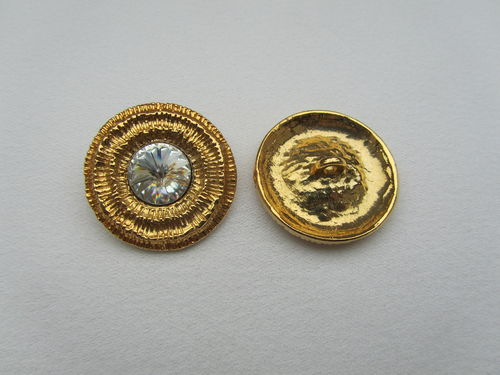 K14065 Metallknopf gold-strass 17mm